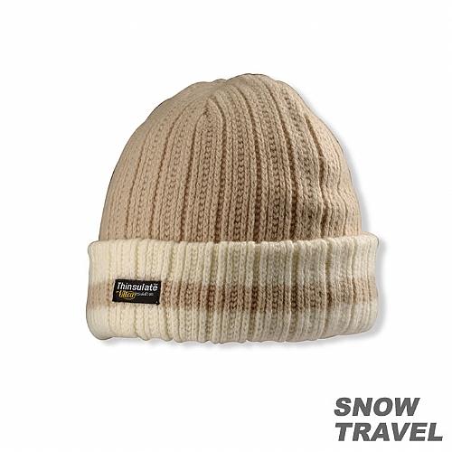 3M防風透氣保暖羊毛帽(條紋摺邊)