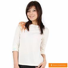 女有機棉印花七分袖衫